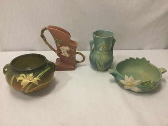 4 vintage Roseville: Apple Blossom vase No.373-7, Zephyr Lily brown jardiniere No.671-4 and more