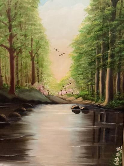 Original oil painting of tranquil stream in gesso frame. Signed by artist M. O'Sullivan