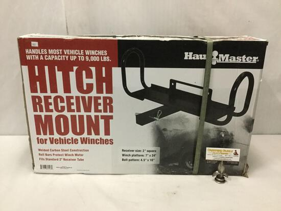 Haul Master hitch receive mount for vehicle winches. In original box. Approx 24x16x7 inches.