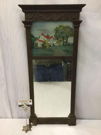 Antique mirror w/ painted house artwork panel & regal black frame, shows wear Approx. 31x15x2 inches