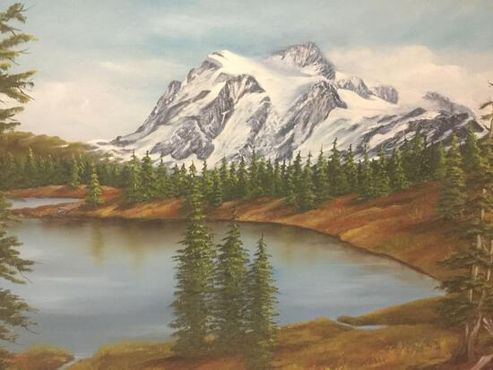Framed original oil painting of alpine lake, signed by artist Mark. Approx. 36x30x3 inches.