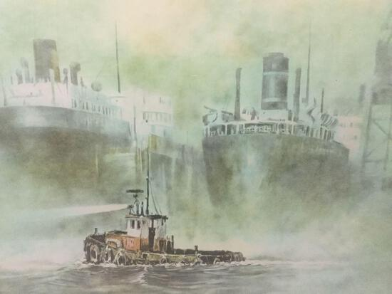 Framed lithographic print of ships in the fog - San Pedro - No.148/175, signed/numbered by artist
