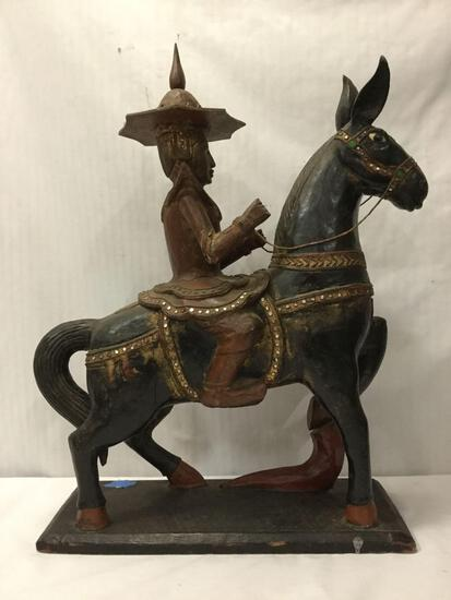 Indonesian hand-carved wooden horse and rider sculpture Approx. 25x20x8 inches.