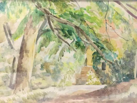 Framed antique Professor John E. Thompson unsigned watercolor artwork - A Garden Spot