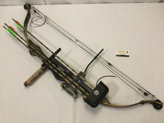 Golden Eagle hunting compound bow, 3 metal tip arrows, Martin Archery Inc. quiver, needs new string