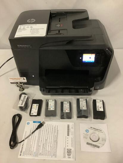 HP Officejet Pro 8715 All-In-One printer with extra ink cartridges. Tested & working. 20x13x12 in.