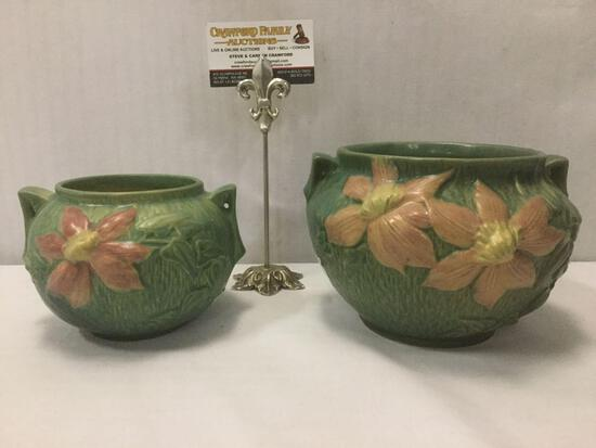 2 vintage green Roseville Clematis 2-handled bowls w/ floral designs No.455-4 /No.667-5 8x8x6 inches