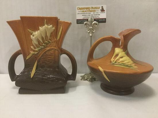 2 U.S. made Roseville pottery pieces: Freesia pitcher w/ flower bud design & matching vase no. 200-7