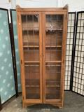 Vintage Crusader modern office furniture 5 shelf book case curio cabinet. Approx 72x30x12 inches.