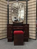 Vintage Chinese Robin vanity w/ three drawers, 2 cabinets, and seat. Approx 64x34x17 inches.
