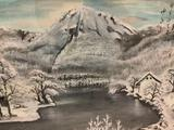 Original Asian watercolor painting of snowy mountain pond signed by artist. Approx 25x20 inches.