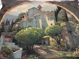 Large Behrens cotton tapestry of Villa Cipriani Archway scene, approx. 76x58x0.5 inches.