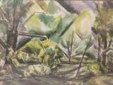 Framed antique early 20th Century Professor John E. Thompson unsigned original watercolor landscape