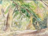 Framed antique Professor John E. Thompson unsigned watercolor artwork - A Garden Spot