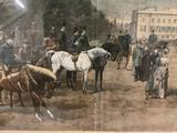 Antique framed 1887 engraving of Waiting for the Princess. Approx 29x22 inches.