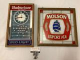 Lot of 2: Budweiser Bud Light football beer advertising clock. Molson Brewing Beer Advertising glass