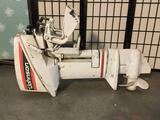 Johnson SeaHorse outboard boat motor. Untested. Approx 36x24x12 inches.