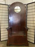Vintage wooden hall tree/hat rack/dressing table w/ mirror, hooks, & arm rests.