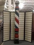 Vintage painted wooden barbers poll, approx. 91x10x10 inches. *Starting bid is the reserve.
