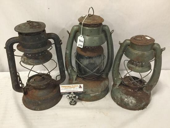 Lot of 3: 2 vintage Embury gasoline lanterns & Dietz D-Lite 22 lantern. Two have no glass.