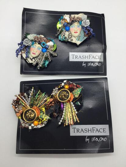 2 pairs of high end art jewelry from the Trash Face line by acclaimed Hawaiian artist Ira Ono.