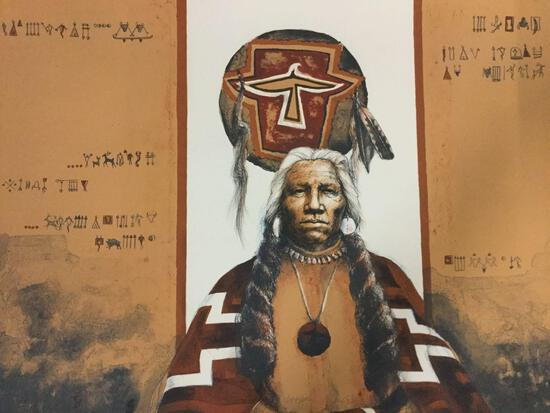 Artist proof print of Native American man signed by artist Larry (?). Approx 30x22 inches