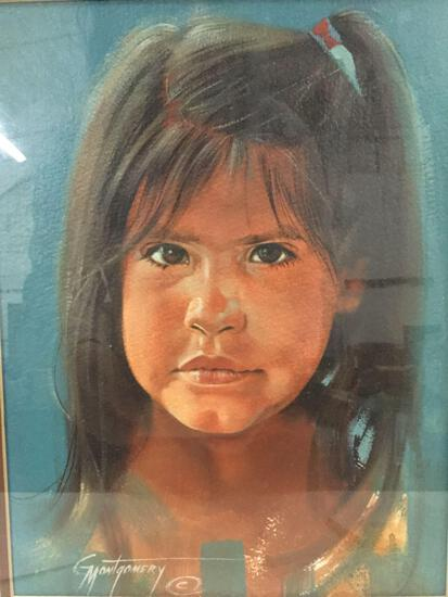 Framed original portrait of young Native American girl: Precious Thoughts by Gary Montgomery