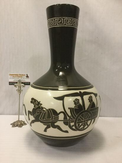Mid-Century vintage Taiwanese black & white ceramic vase w/relief rider designs approx. 18x12x12 in.