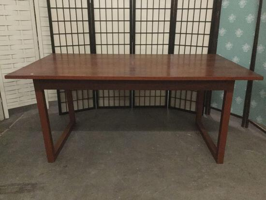 Modern style wood dining table w/ signs of wear & repair, see pics, approx. 64.5x37x28.5 inches.