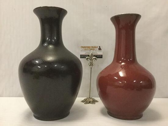 2 vintage Mid-Century ceramic vases from Taiwan, stock No. 1140 & 1133, largest approx. 13x8x8 in