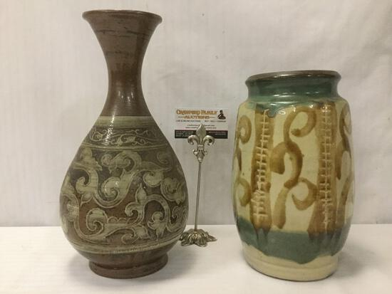 2 stoneware vases w/swirling designs, largest approx. 14x7x7 inches.