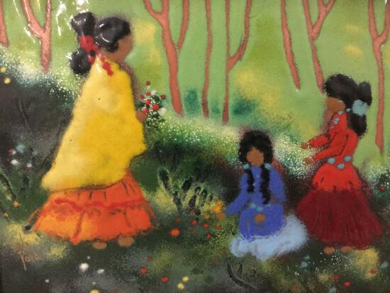 Framed original enamel art piece of three women by Linda Pond. Approx 15x13 inches.