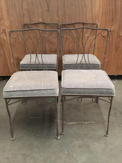 Set of 4 metal frame upholstered dining chairs. Approx 33x23x19 inches.