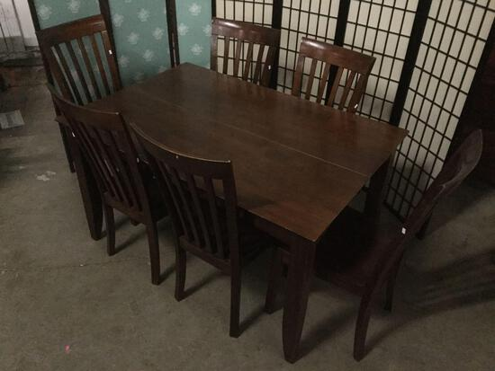 Wood dinning table w/ built-in leaves, nearly square when expanded + 6 solid wooden dining chairs