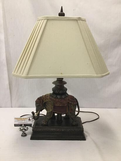 Wood and composite outfitted elephant lamp. Tested/working. Approx 25x17x11 inches.