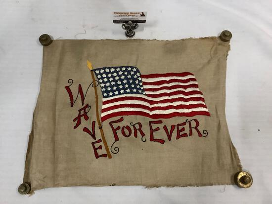 Original vintage embroidered art of flag Wave Forever, signed by artist. Approx 21x16 inches.