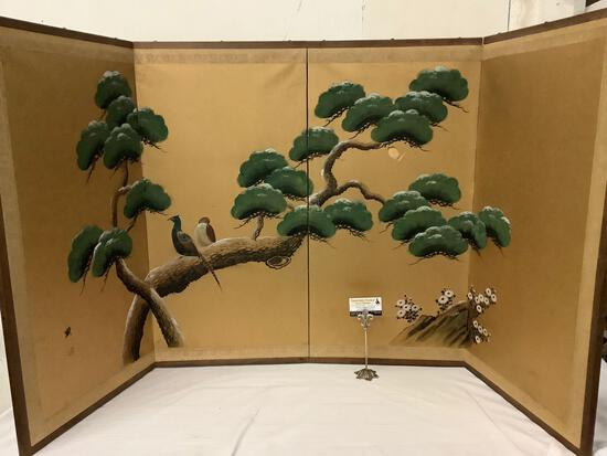Vintage Asian hand painted 4-panel divider w/ bird design, shows wear/tear, approx 37x74 inches