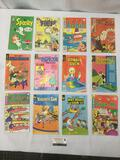 12 vintage comic books: Donald Duck, Pink Panther, Archie, Yosemite Sam, Casper, Scooby Doo, & more.