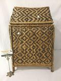 Handmade wicker basket with lid, approx. 16x13x22 inches.