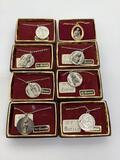 8 vintage patron saint medallion necklaces: St. Regina, St. Cecile, St. Louis, St. Theodore and more