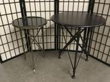 2 black side tables w/ metal bases: World Market wood top table & studded metal/granite top table