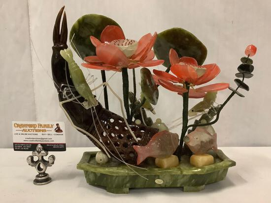 Chinese polished stone centerpiece artwork of a sea life tableau. Rare piece. Approx 12x12x5 inches.