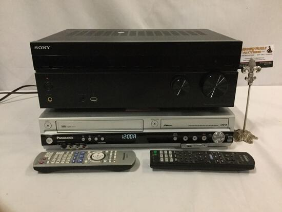Sony STR-DH740 Multi Channel AV Receiver, and Panasonic DMR-ES46V DVD/VHS recorder. Tested/working.
