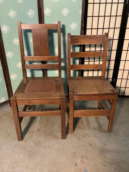 Pair of antique mission style tiger oak chairs. Largest approx 39x21x18 inches.