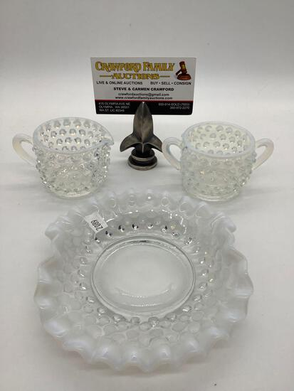 Collection of 3 vintage Fenton hobnail opalescent Moon Glow glass pieces. Plate, cream, and sugar.