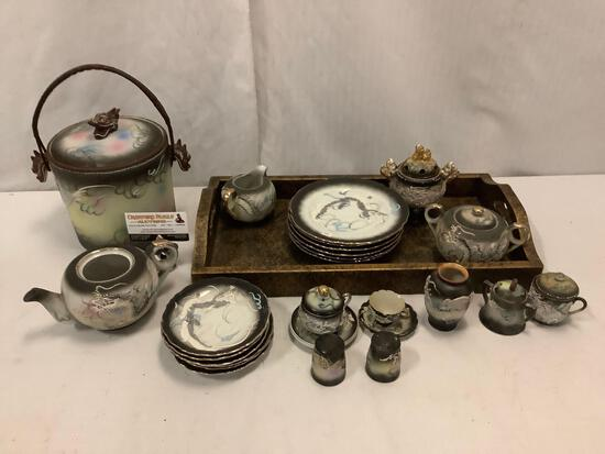 Japanese hand painted dragon themed china tea set w/ ice bucket, plates, cream, sugar, tray and more