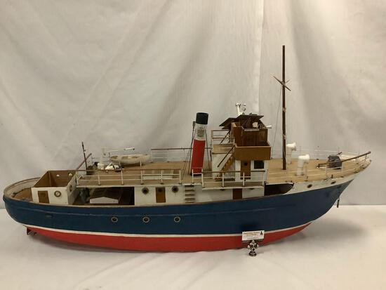 Vintage large scale Bettylew Spokane Pancoast Steamer Ship custom wooden boat model. 62x32x14 inches