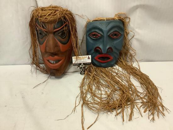 2x ethnic wood carved masks; Blue Man 1987 & Red Paint Cedar Man signed by Dale James 1987 13x7x6 in