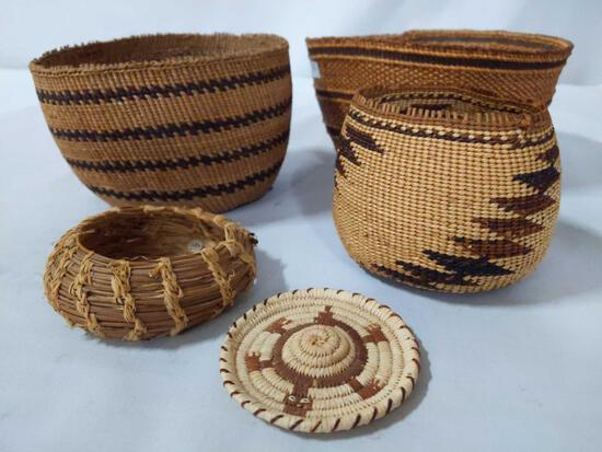 5x Native American woven items: Lakota basket, bowls, small turtle art by Bernadine Moreno