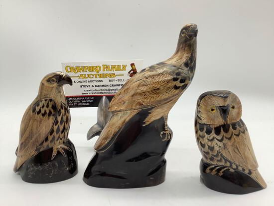 Lot of 3 hand carved buffalo horn scrimshaw bird lot. Owl and raptors. approx 5.5x4x2 inches.